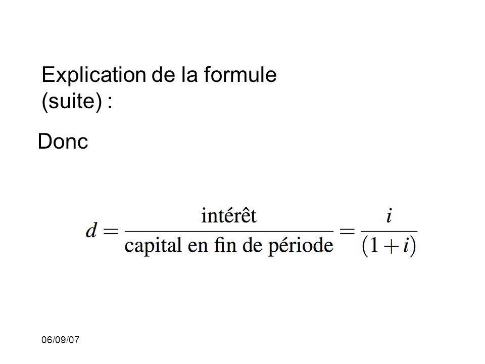 Explication de la formule (suite) :