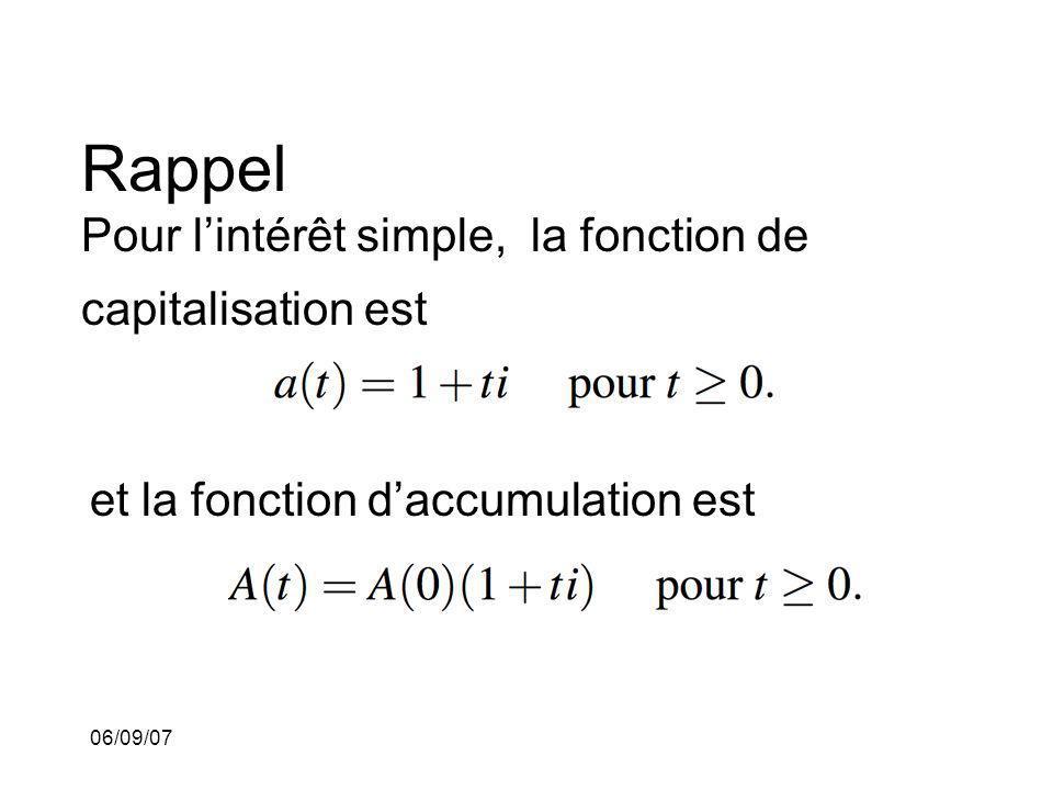 Rappel Pour l'intérêt simple, la fonction de capitalisation est