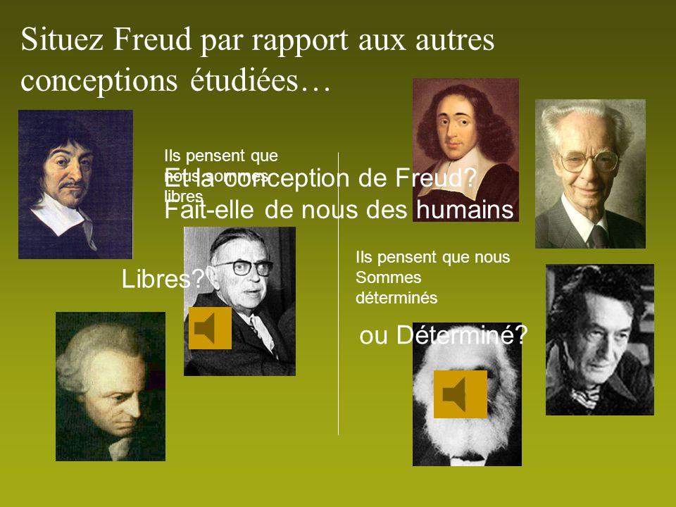 Situez Freud par rapport aux autres conceptions étudiées…