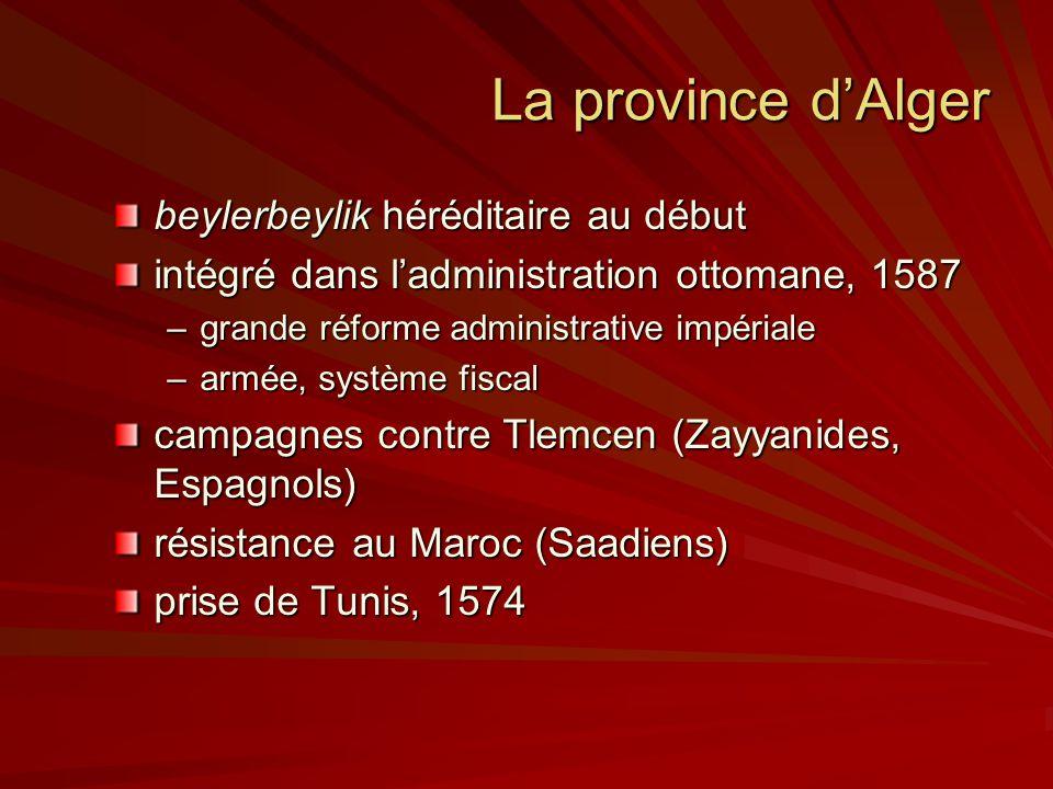 La province d'Alger beylerbeylik héréditaire au début