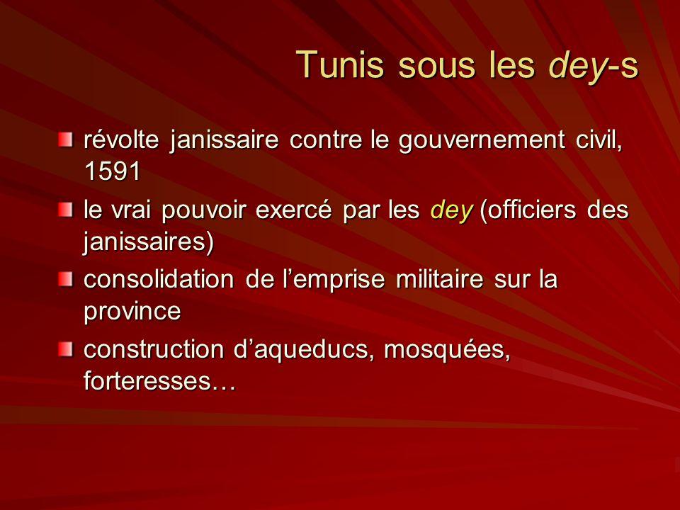 Tunis sous les dey-s révolte janissaire contre le gouvernement civil, 1591. le vrai pouvoir exercé par les dey (officiers des janissaires)