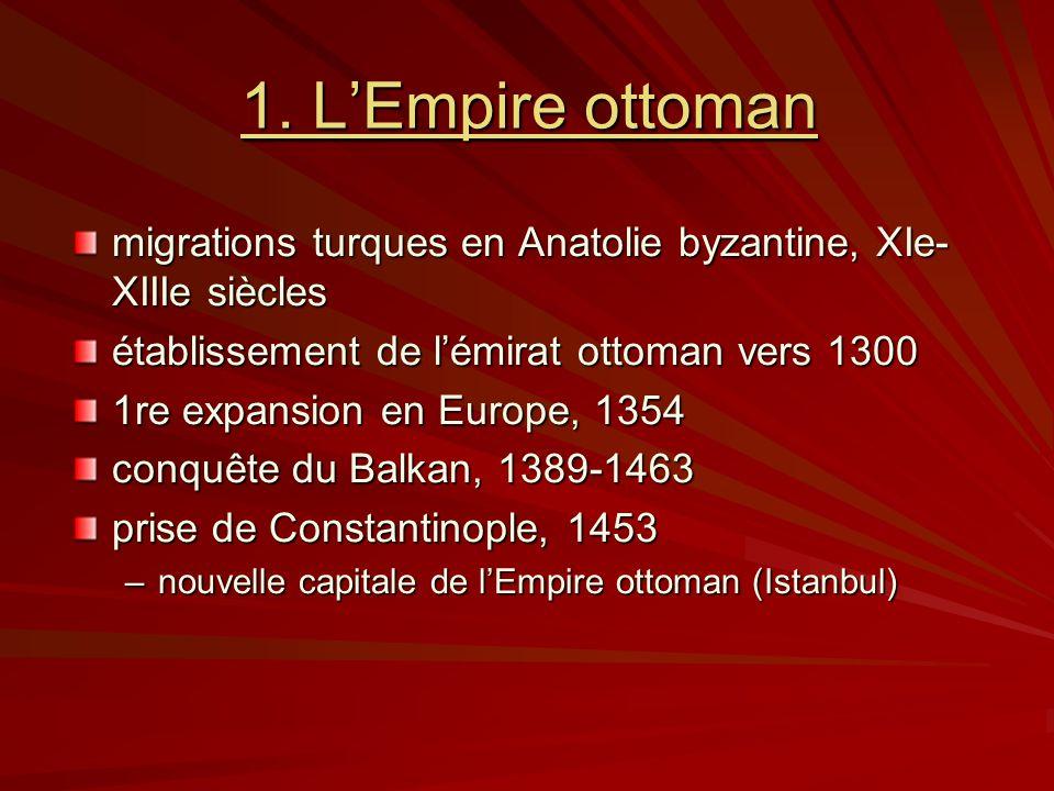 1. L'Empire ottoman migrations turques en Anatolie byzantine, XIe-XIIIe siècles. établissement de l'émirat ottoman vers 1300.