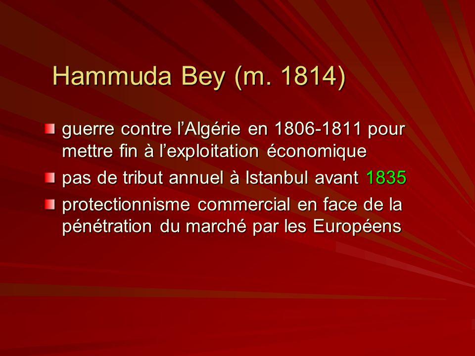 Hammuda Bey (m. 1814) guerre contre l'Algérie en 1806-1811 pour mettre fin à l'exploitation économique.