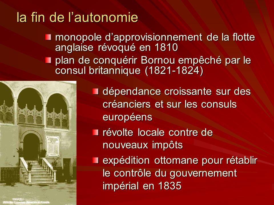 la fin de l'autonomie monopole d'approvisionnement de la flotte anglaise révoqué en 1810.