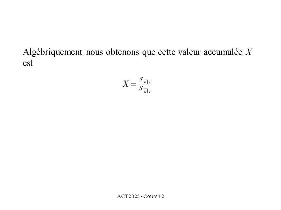 Algébriquement nous obtenons que cette valeur accumulée X est