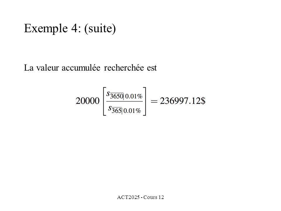 Exemple 4: (suite) La valeur accumulée recherchée est