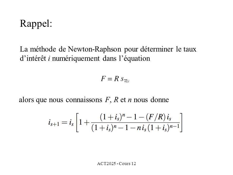 Rappel: La méthode de Newton-Raphson pour déterminer le taux d'intérêt i numériquement dans l'équation.