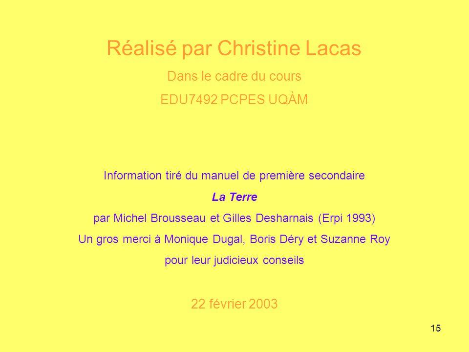 Réalisé par Christine Lacas