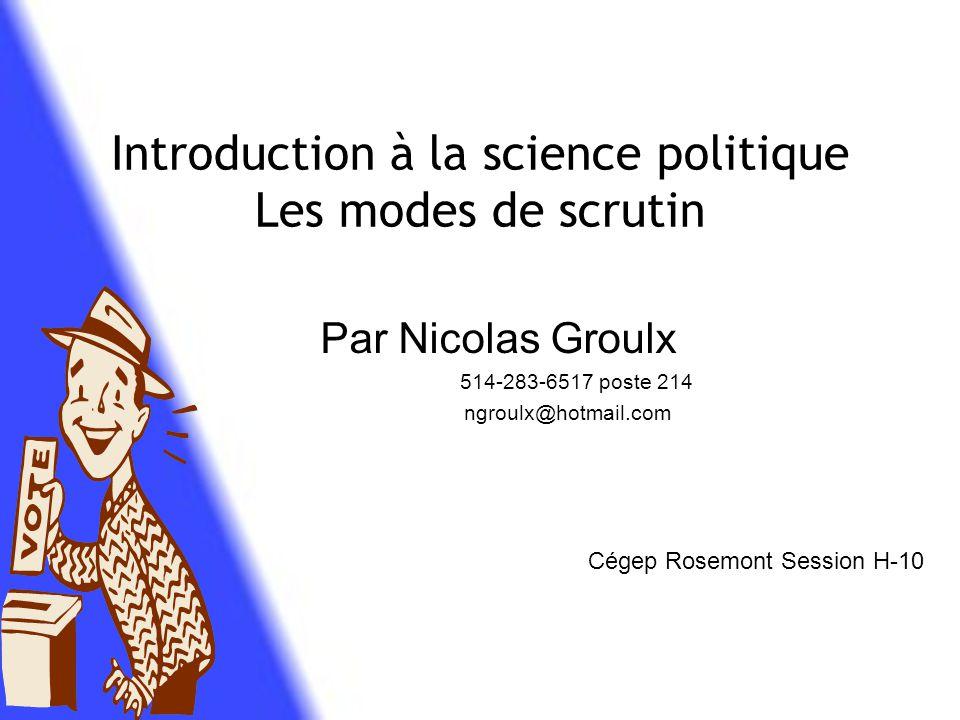 Introduction à la science politique Les modes de scrutin