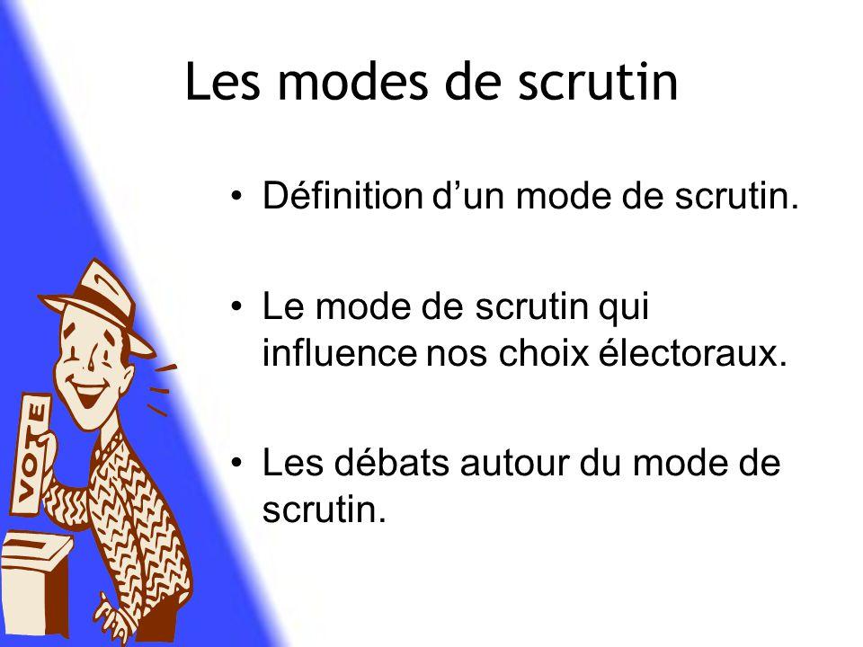Les modes de scrutin Définition d'un mode de scrutin.