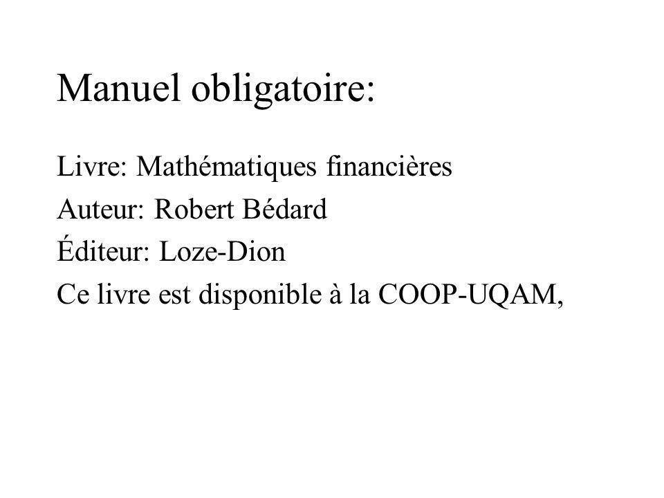 Manuel obligatoire: Livre: Mathématiques financières