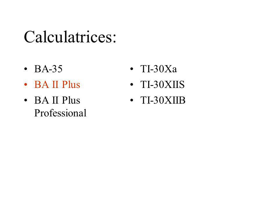 Calculatrices: BA-35 BA II Plus BA II Plus Professional TI-30Xa
