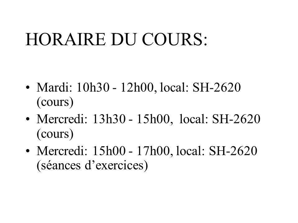 HORAIRE DU COURS: Mardi: 10h30 - 12h00, local: SH-2620 (cours)