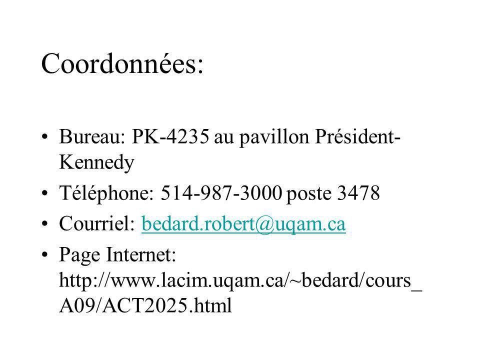 Coordonnées: Bureau: PK-4235 au pavillon Président-Kennedy