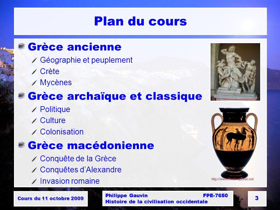 Plan du cours Grèce ancienne Grèce archaïque et classique