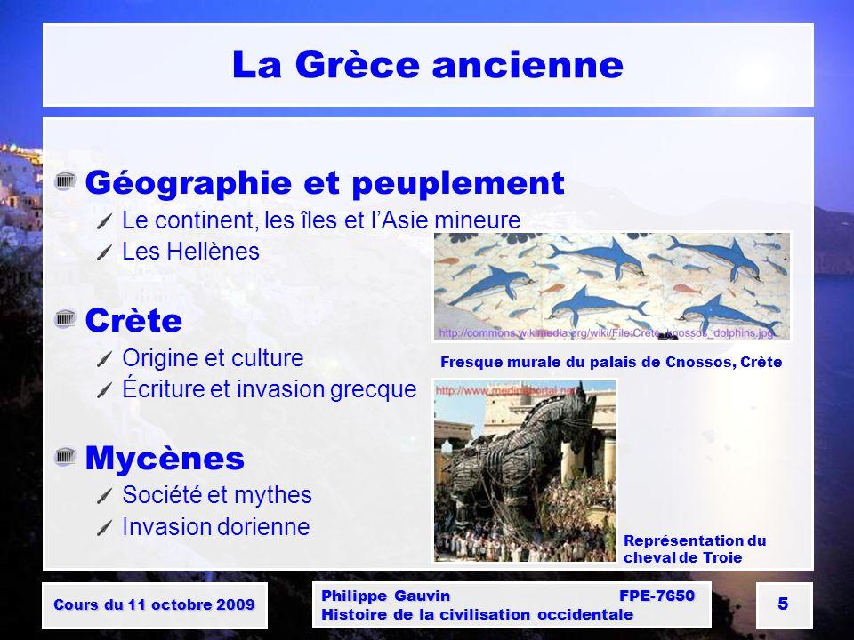 La Grèce ancienne Géographie et peuplement Crète Mycènes