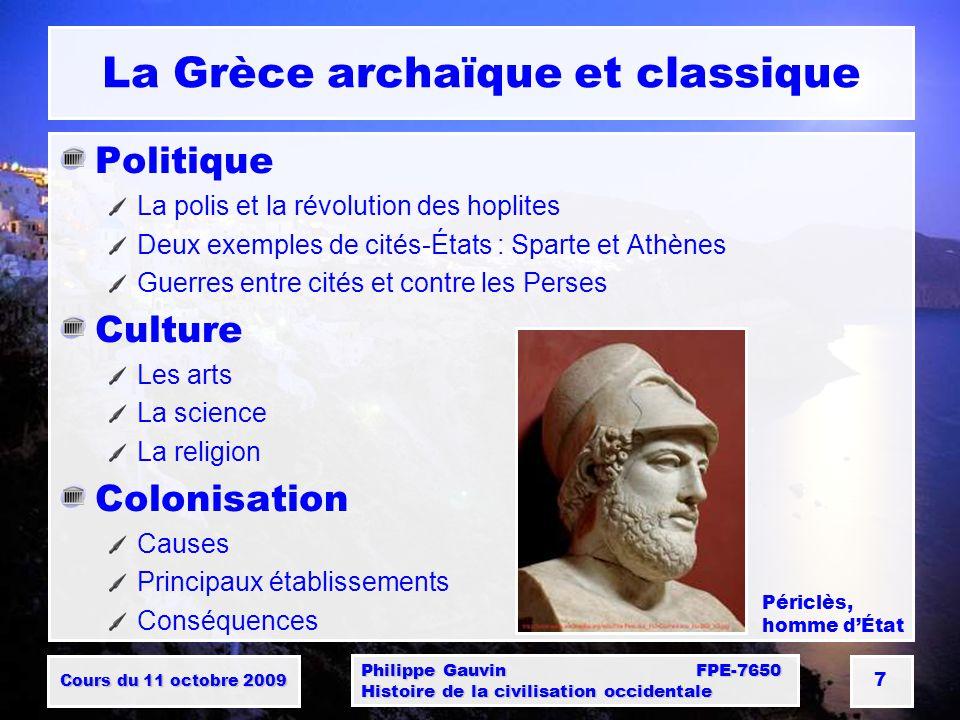 La Grèce archaïque et classique