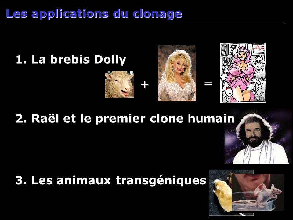 = + Les applications du clonage 1. La brebis Dolly