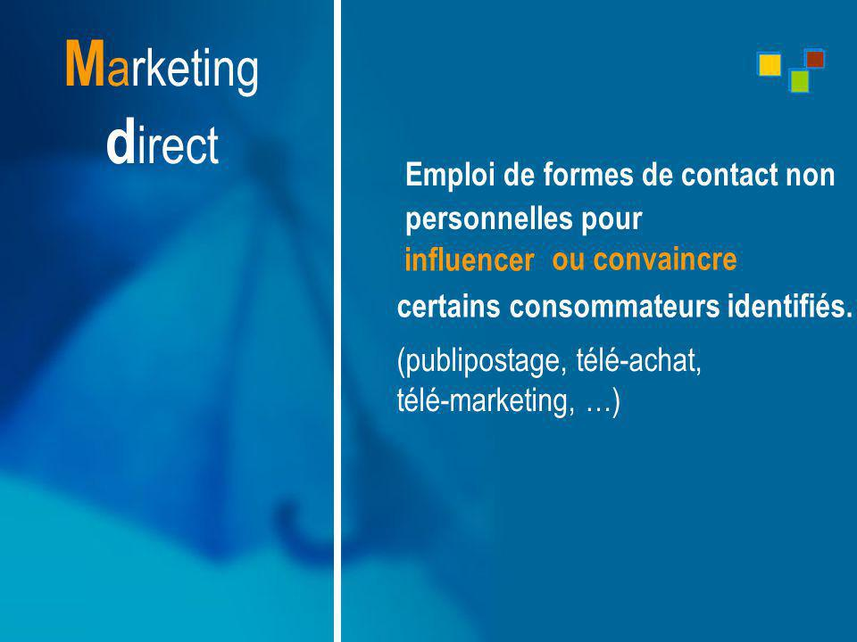 Marketing direct Emploi de formes de contact non. personnelles pour. influencer. ou convaincre.