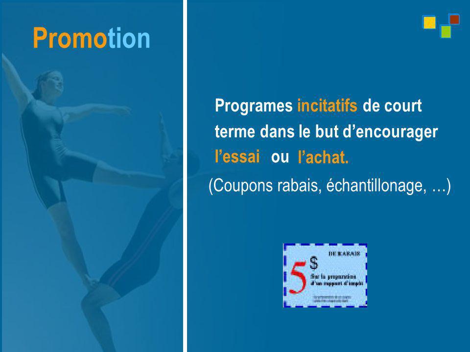 Promotion Programes incitatifs de court terme dans le but d'encourager