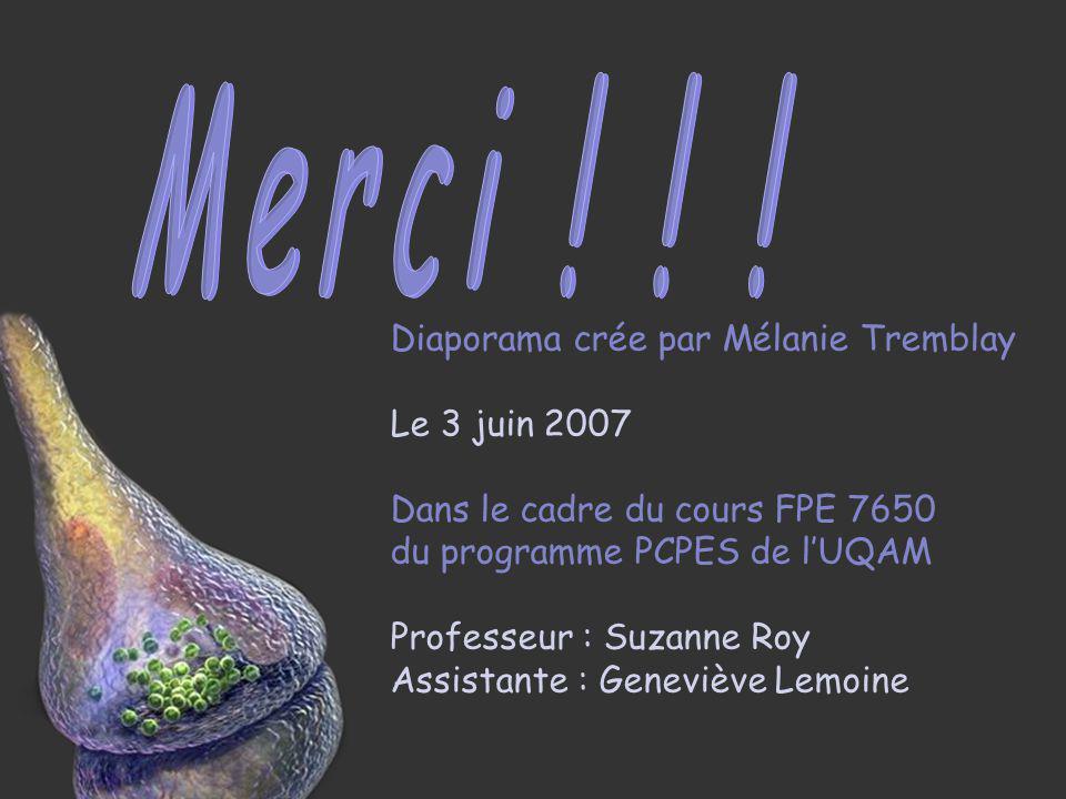 Merci ! ! ! Diaporama crée par Mélanie Tremblay Le 3 juin 2007