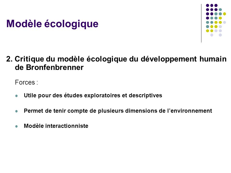 Modèle écologique 2. Critique du modèle écologique du développement humain de Bronfenbrenner. Forces :