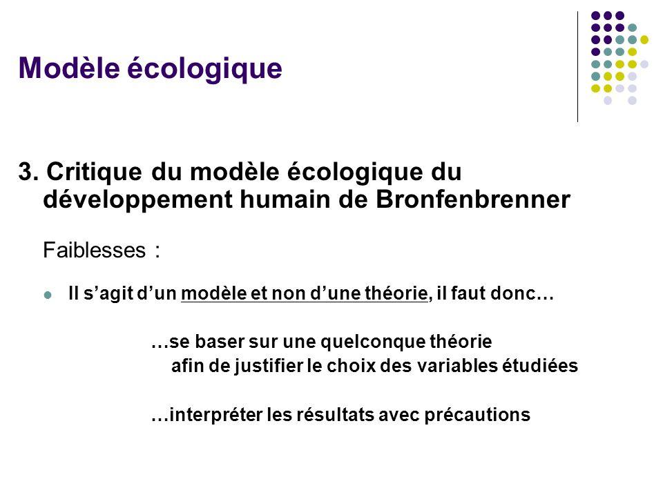 Modèle écologique 3. Critique du modèle écologique du développement humain de Bronfenbrenner. Faiblesses :