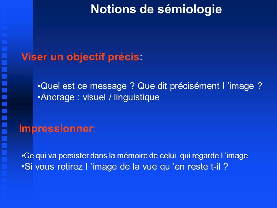 Notions de sémiologie Viser un objectif précis: Impressionner: