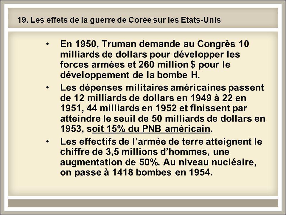 19. Les effets de la guerre de Corée sur les Etats-Unis