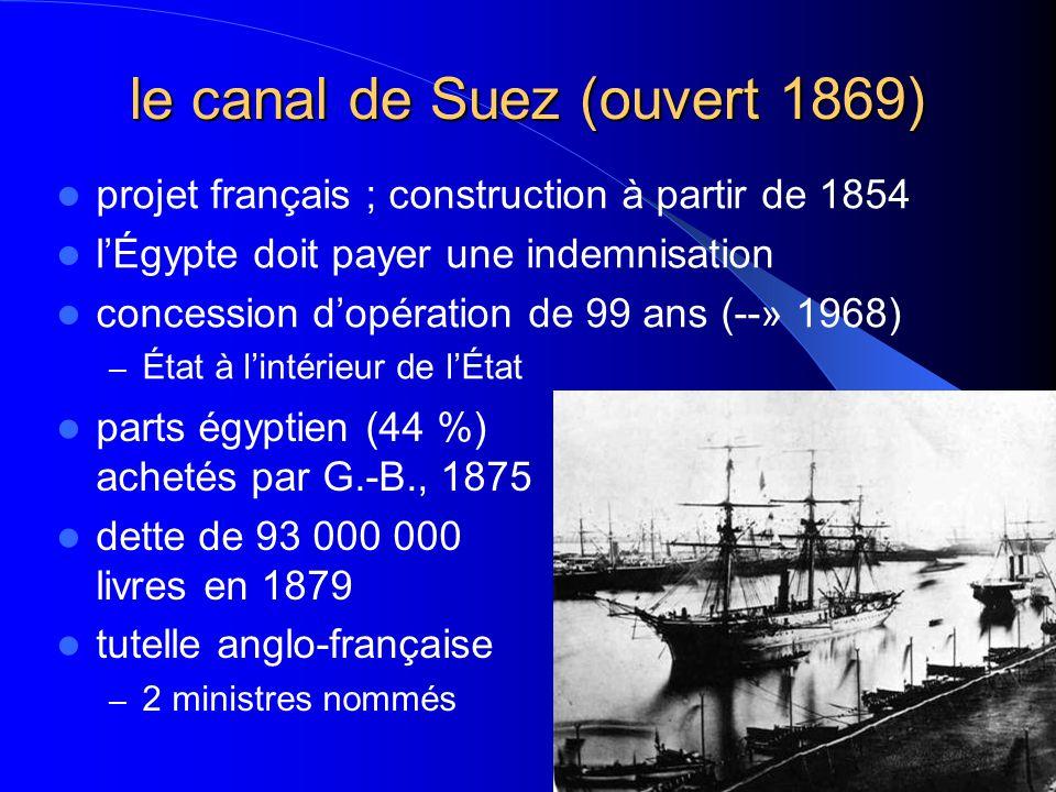 le canal de Suez (ouvert 1869)