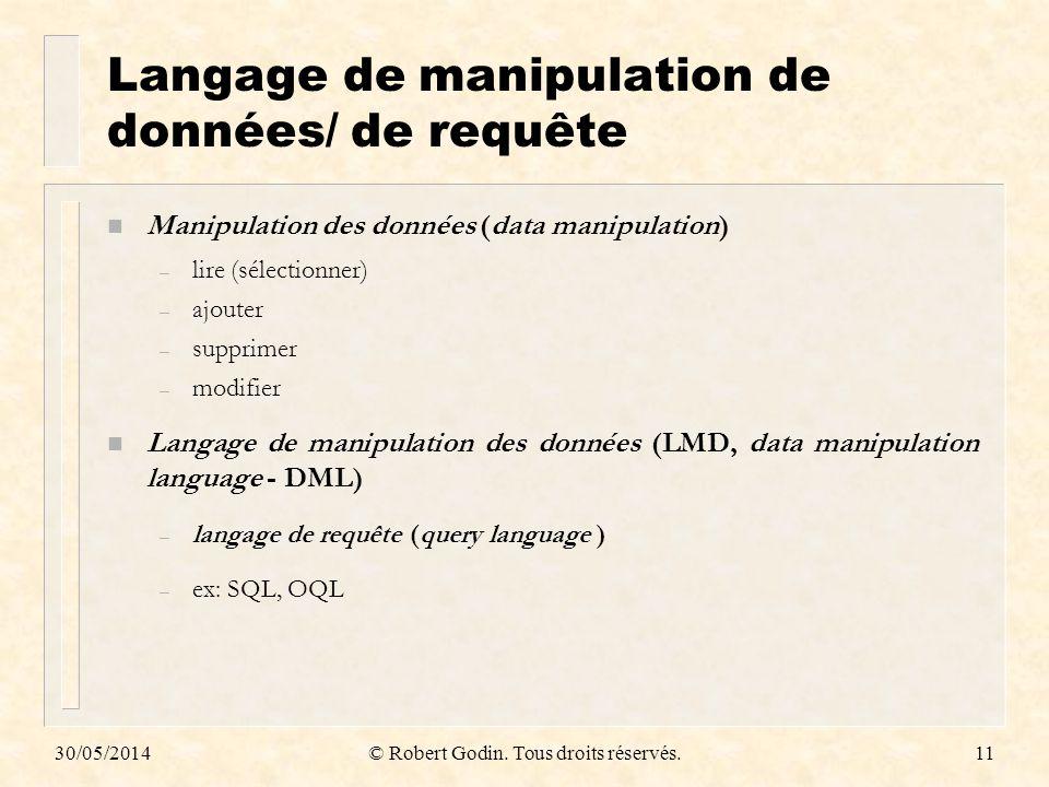 Langage de manipulation de données/ de requête