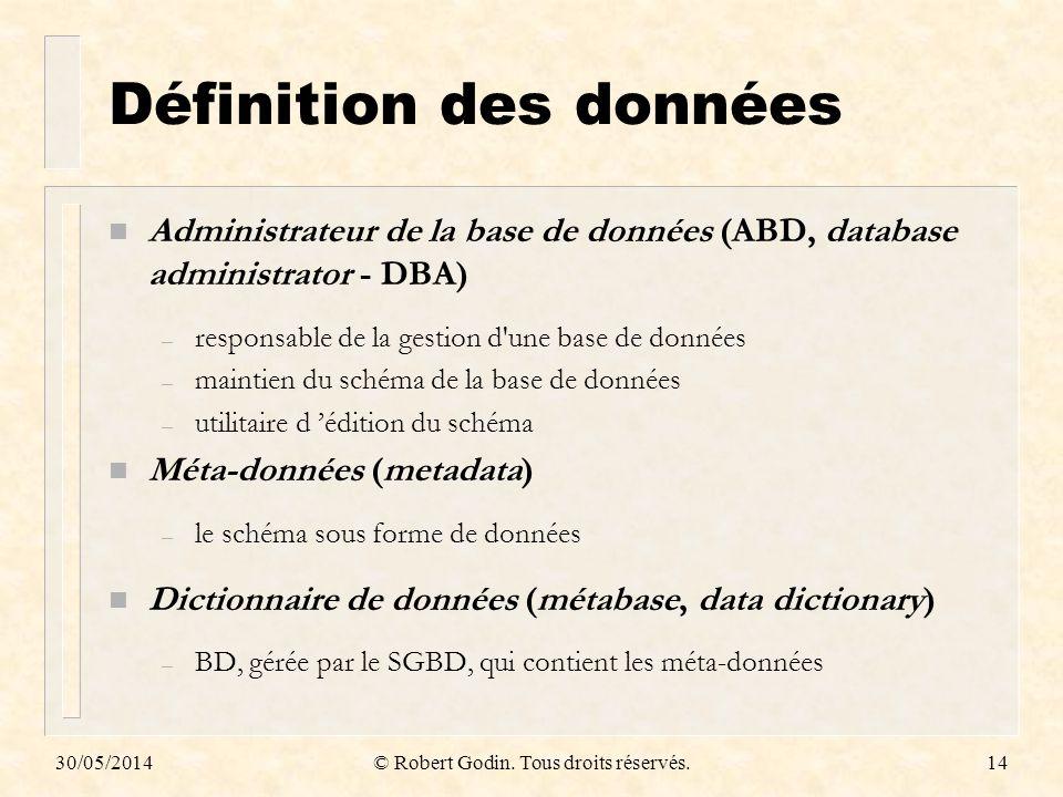 Définition des données