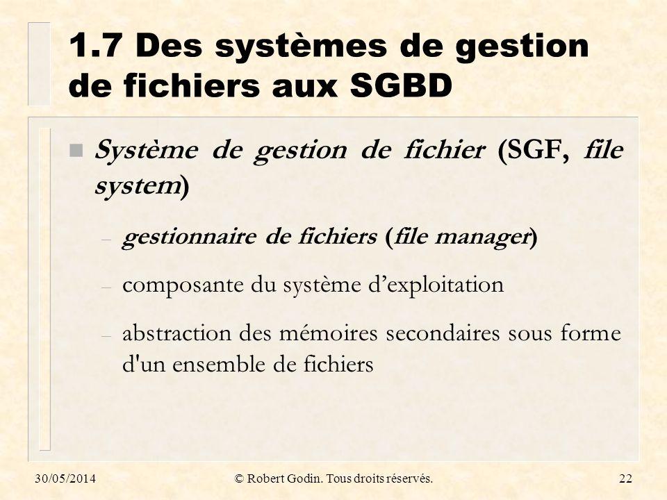 1.7 Des systèmes de gestion de fichiers aux SGBD
