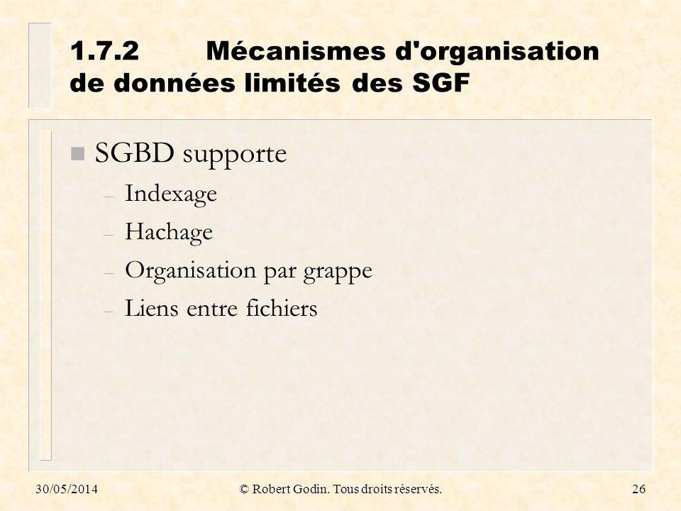 1.7.2 Mécanismes d organisation de données limités des SGF