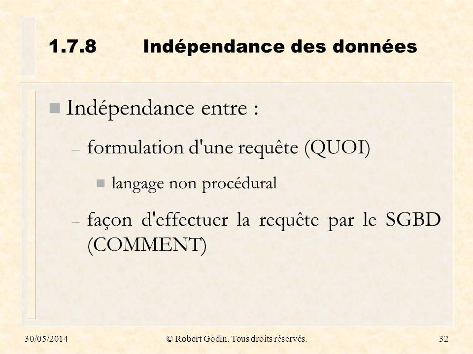 1.7.8 Indépendance des données