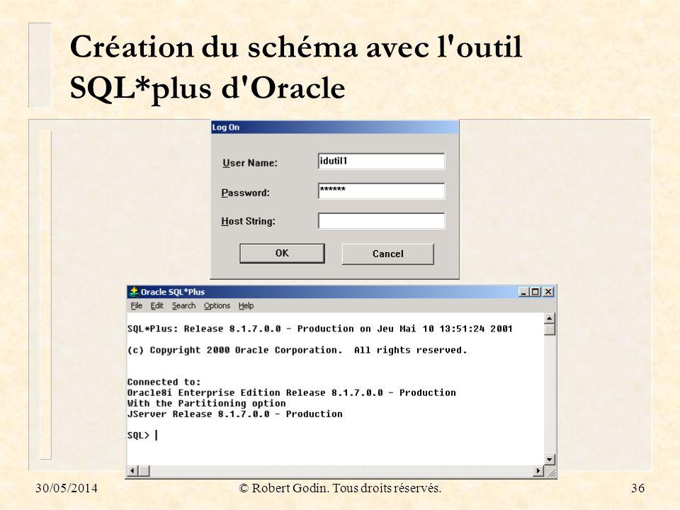 Création du schéma avec l outil SQL*plus d Oracle