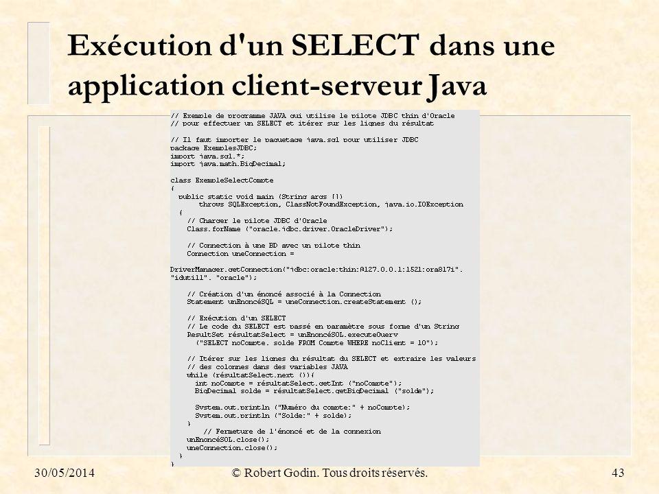 Exécution d un SELECT dans une application client-serveur Java