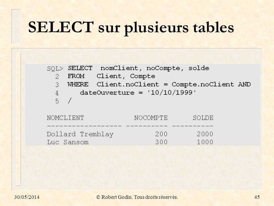 SELECT sur plusieurs tables