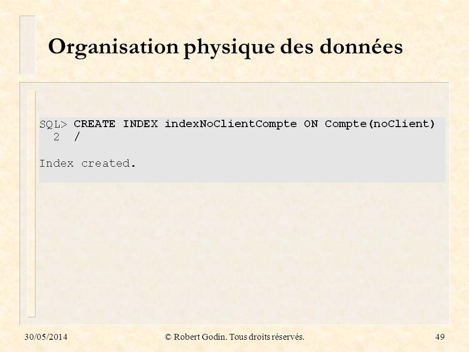 Organisation physique des données