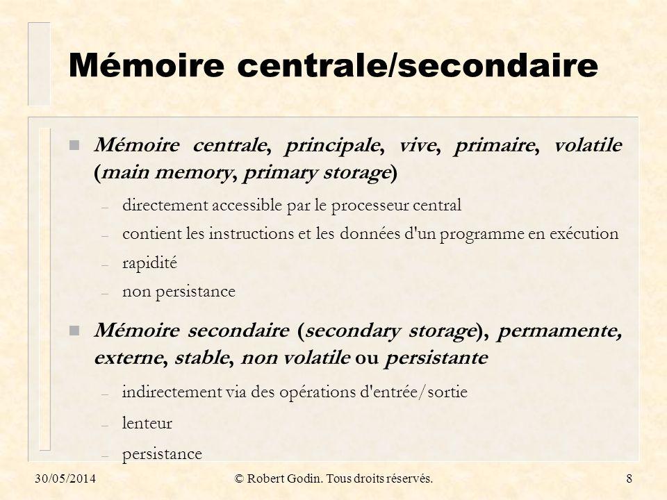 Mémoire centrale/secondaire