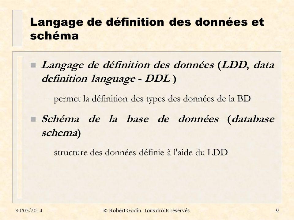 Langage de définition des données et schéma