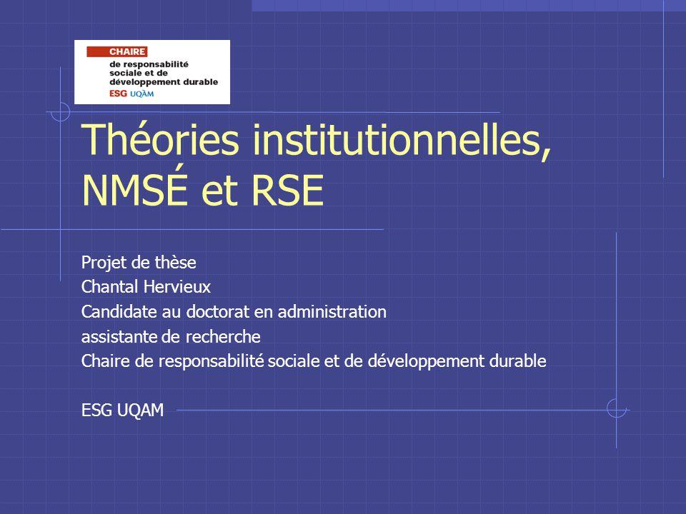 Théories institutionnelles, NMSÉ et RSE