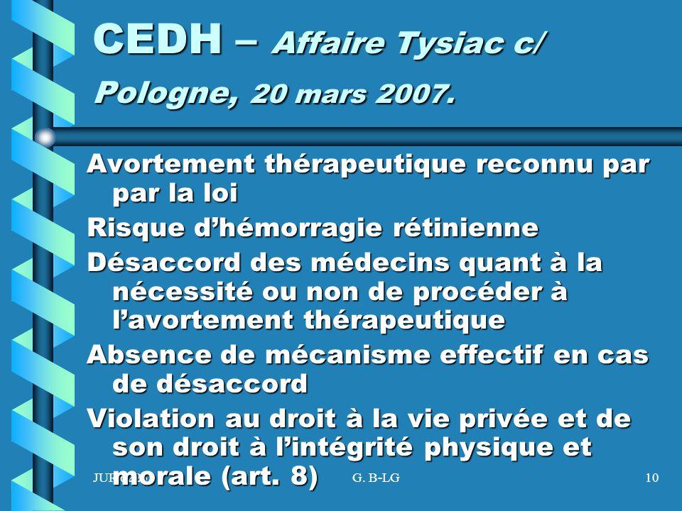 CEDH – Affaire Tysiac c/ Pologne, 20 mars 2007.