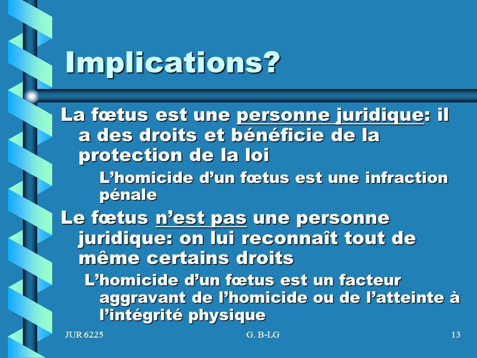 Implications La fœtus est une personne juridique: il a des droits et bénéficie de la protection de la loi.