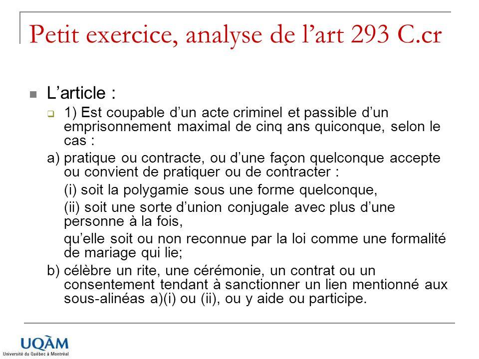 Petit exercice, analyse de l'art 293 C.cr