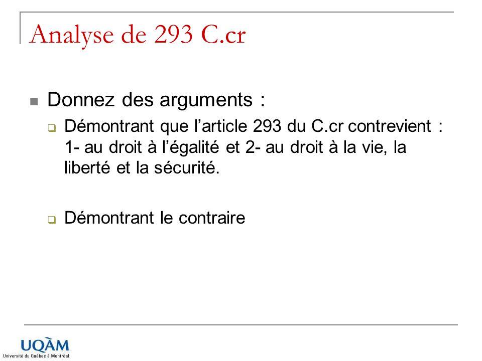 Analyse de 293 C.cr Donnez des arguments :