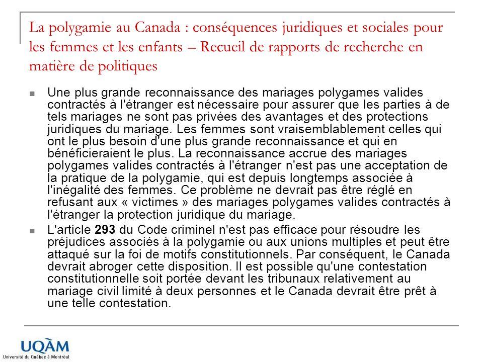 La polygamie au Canada : conséquences juridiques et sociales pour les femmes et les enfants – Recueil de rapports de recherche en matière de politiques