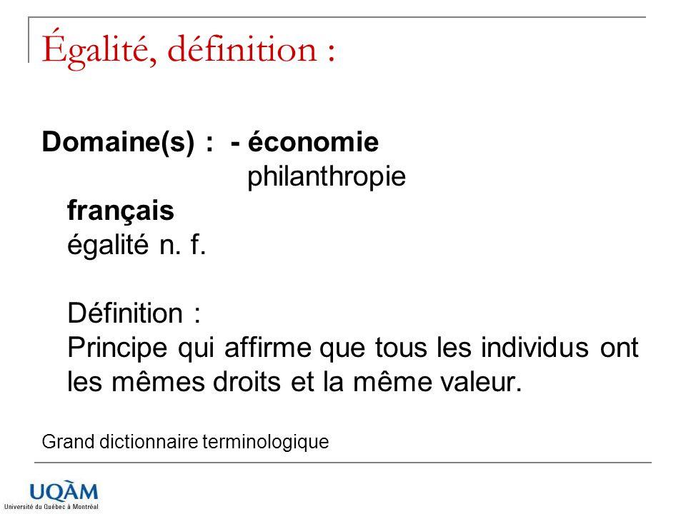 Égalité, définition :