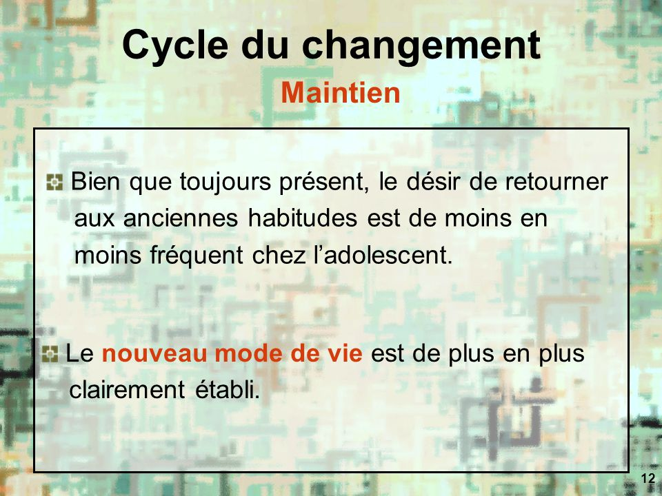 Cycle du changement Maintien