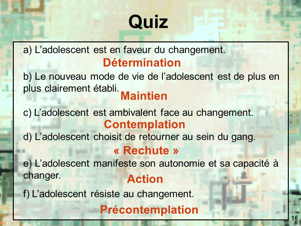 Quiz Détermination Maintien Contemplation « Rechute » Action